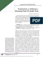 Productividad o Eficiencia - Lectura 2