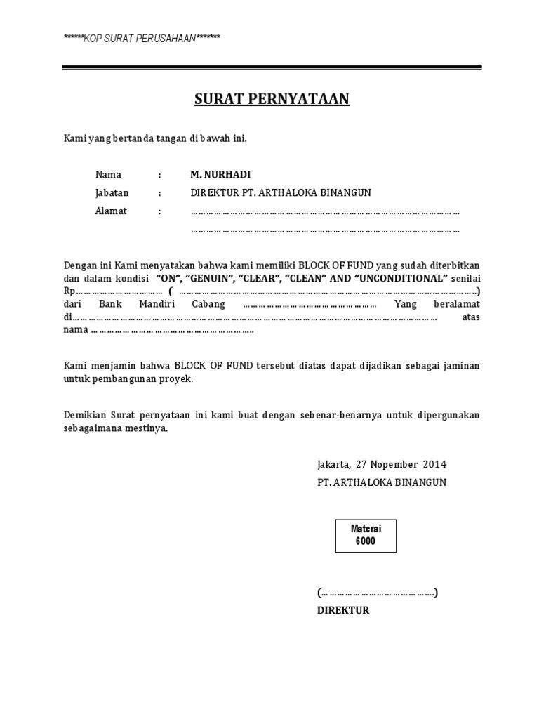 Surat Pernyataan Block of Fund