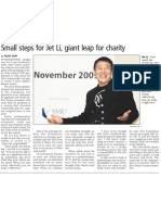 Small steps for Jet Li, giant leap for charity, 13 Nov 2009, Business Times