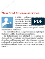 New fund for care services, 6 Nov 2009, The New Paper