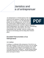 Characteristics and Qualities of Entreprenuer