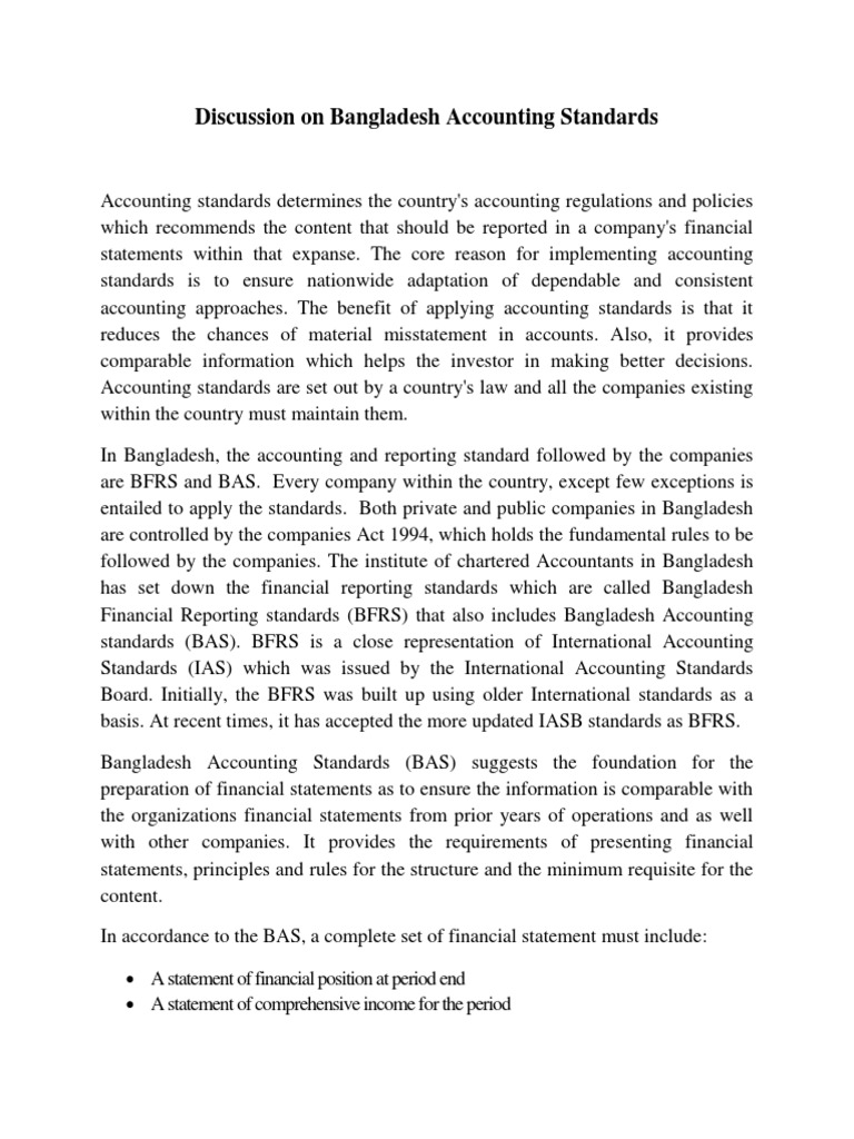 bangladesh accounting standard The adoption of international accounting standards in bangladesh: an exploration of rationale and process  bakre, 2008) in bangladesh, .