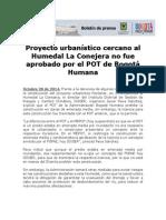 Proyecto Urbanístico Cercano Al Humedal La Conejera No Fue Aprobado Por El POT de Bogotá Humana