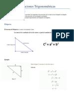 Teoria Pitágoras y Relaciones Trigonométricas