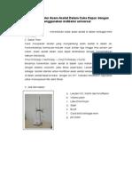 Penentuan Kadar Asam Asetat Dalam Cuka Dapur Dengan Menggunakan Indikator Universal