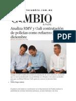 26-11-2014 Diario Matutino Cambio de Puebla - Analiza RMV y Gali Contratación de Policías Como Refuerzo Para Diciembre