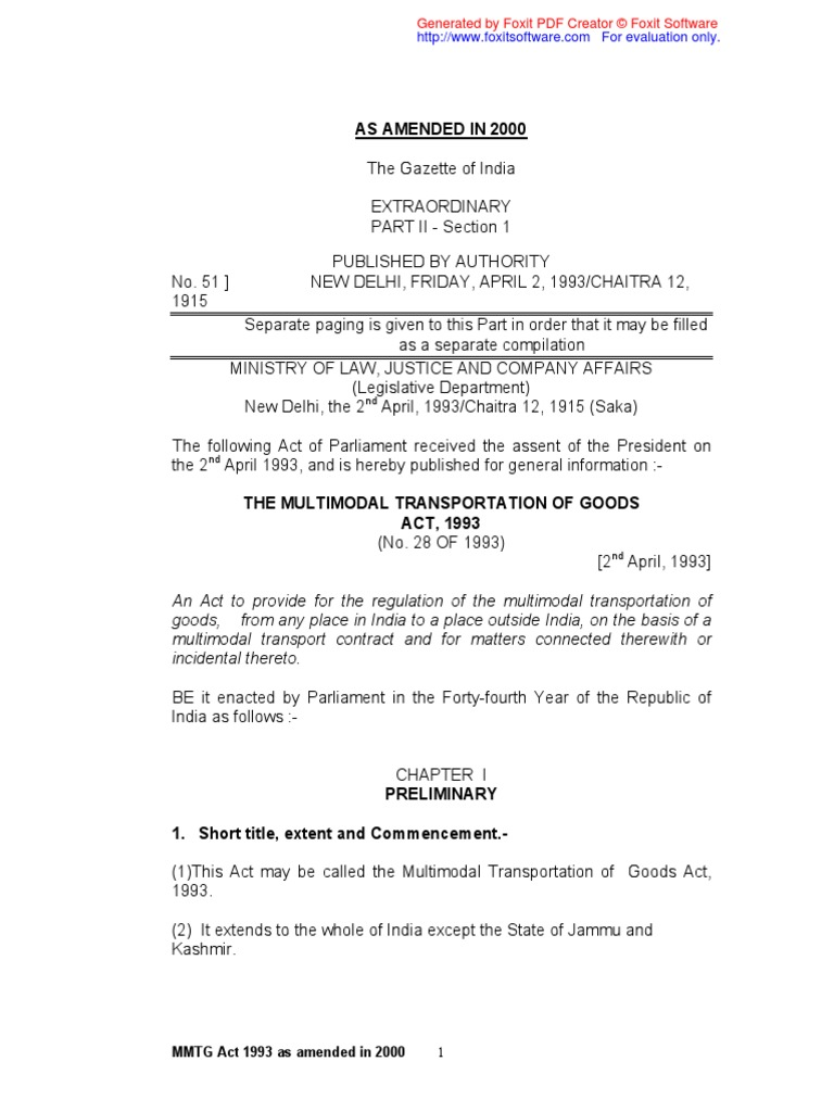 The Multimodal Transportation of Goods Act 1993 | Consignee