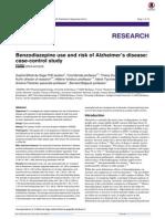 BZD and Alzheimer Risk