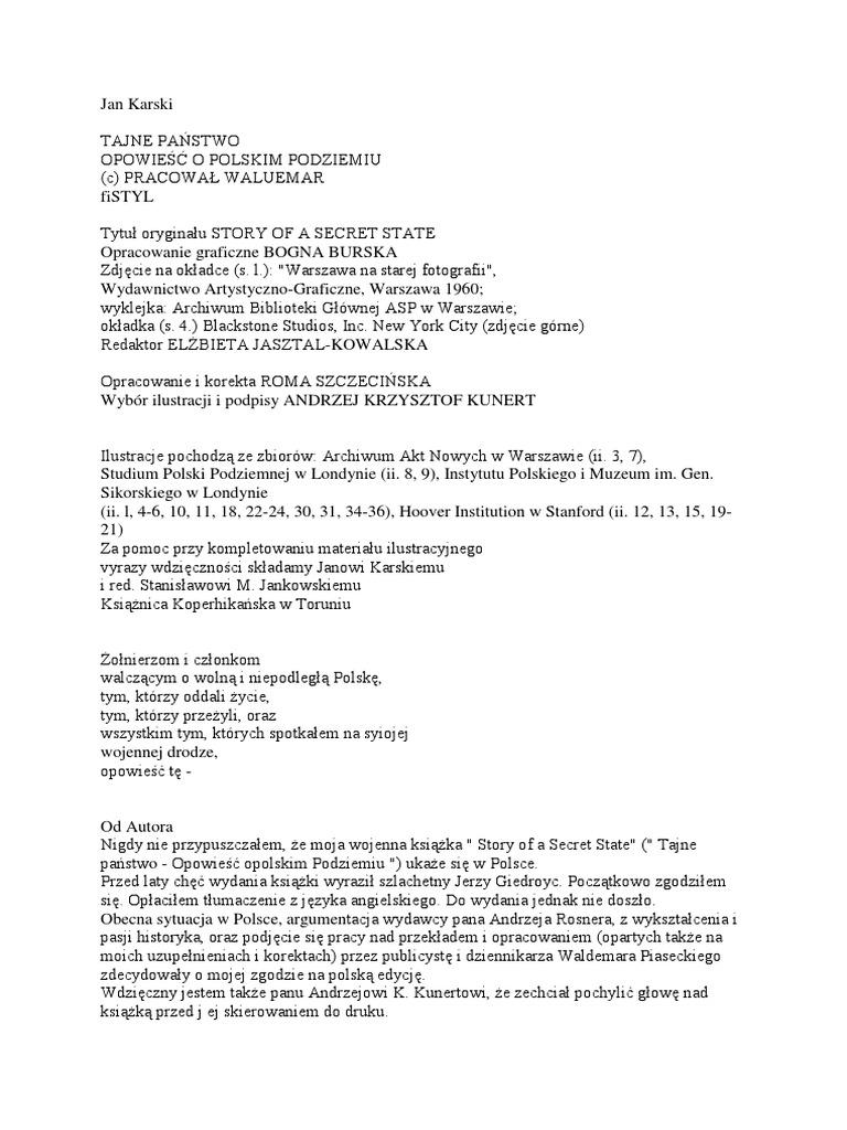 841d6afd Karski Jan - Tajne Państwo. Opowieść o Polskim Podziemniu