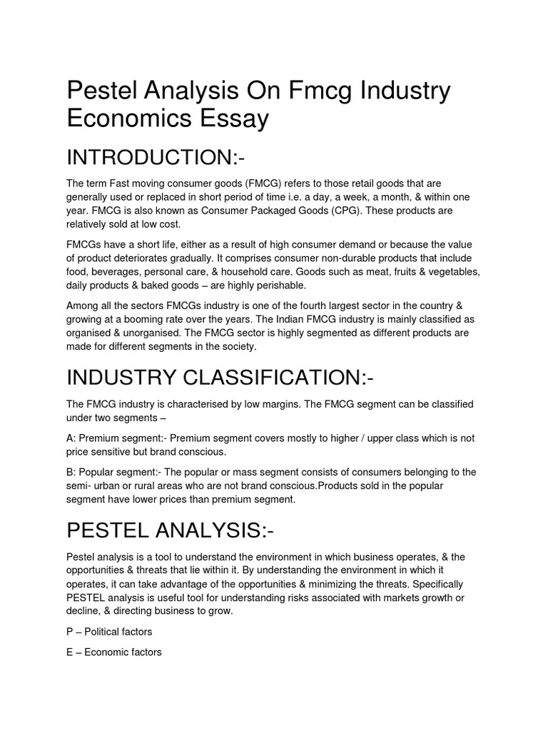pestel analysis on fmcg industry economics essay inflation  pestel analysis on fmcg industry economics essay inflation exchange rate