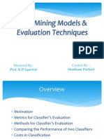 Data Mining Models and Evaluation Techniques
