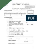 Application Form Central University of Kashmir Consultant Posts