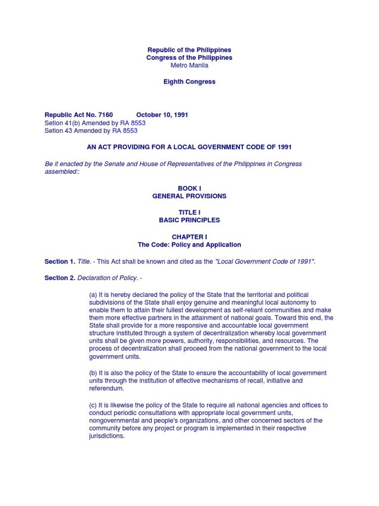 RA 7160 Devolution of Health Services | Eminent Domain | Local ...