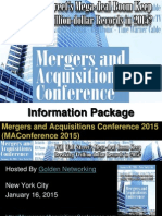 Golden Networking's Mergers and Acquisitions Conference 2015 New York City - Information Package