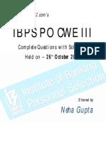 Ibps Po Cwe III 2013