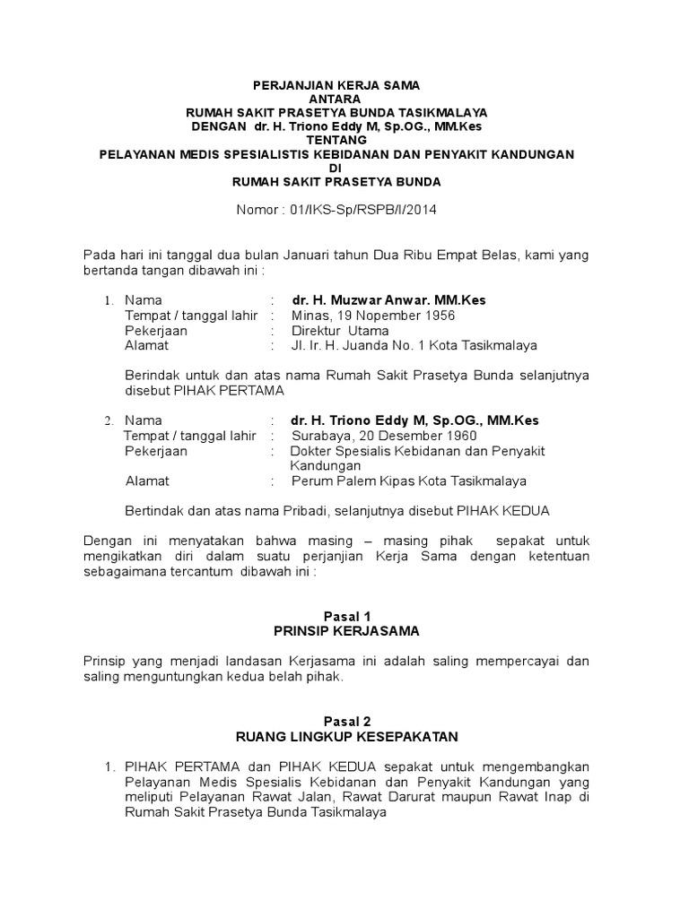 Dokumen Kerjasama Dokter Spesialis Obgyn
