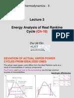 Energy Analysis of Real Rankine Cycle: Thermodynamics - II