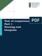Test of Competence - Part One - Nursing Test Blueprint