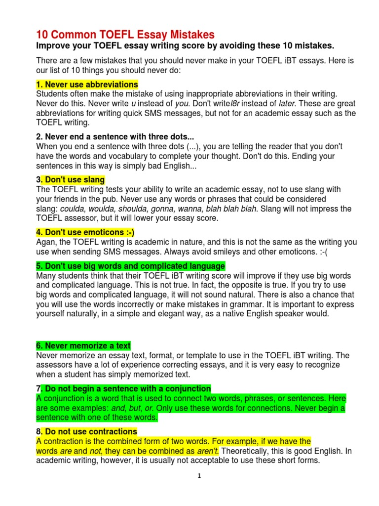 common toefl essay mistakes correlation and dependence  10 common toefl essay mistakes correlation and dependence argument
