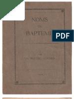 Livret - Noms de Bapteme - 1919
