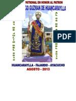 Programa en Honor Al Patron Santo Domingo Guzman de Huacaraylla