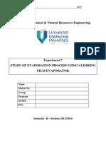 Exp. 7 Study of Evaporation Process Using Climbing Film Evaporator