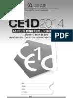 CE1D 2014 Néerlandais Version Élève