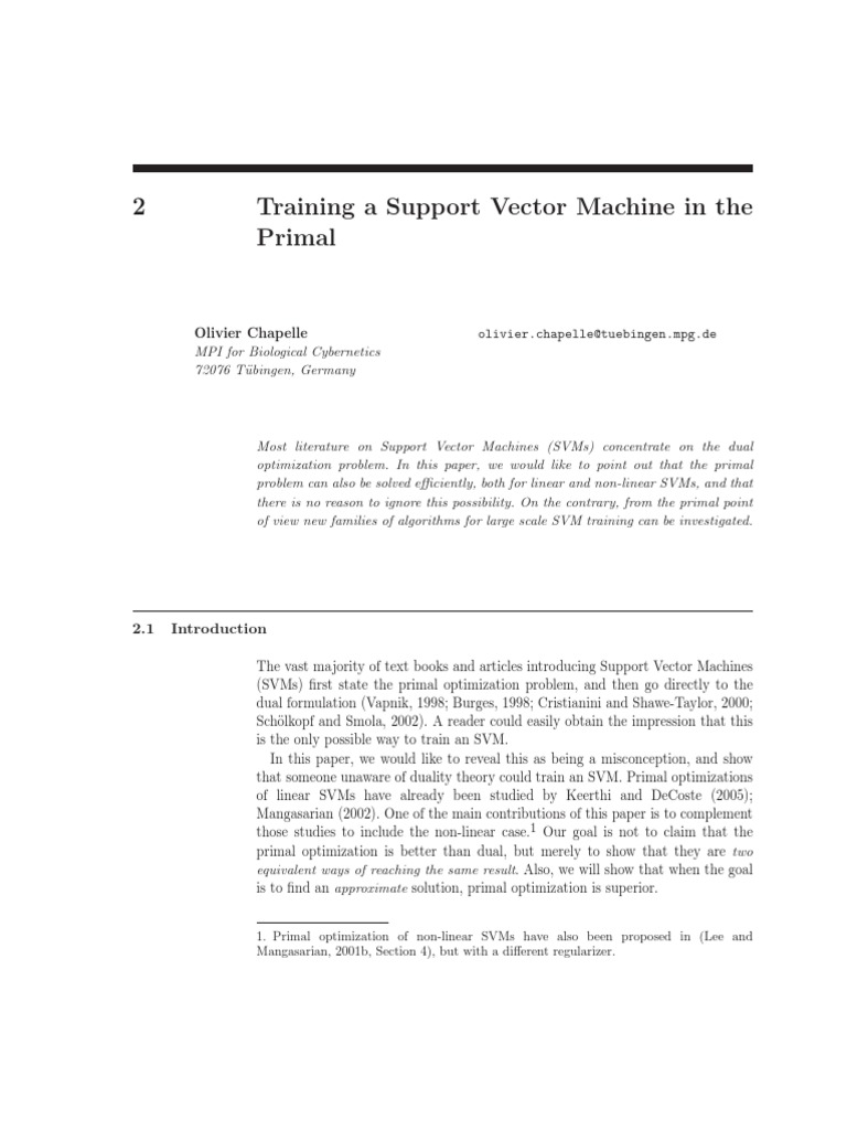 Training a SVM in a Primal | Support Vector Machine | Mathematical