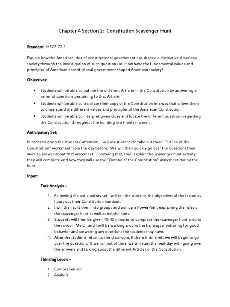 chapter 4 section 2 constitutional scavenger hunt lesson ...