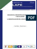 ANÁLISIS DE LA DESCENTRALIZACIÓN EDUCATIVA Y SUS ALCANCES LA MUNICIPALIZACIÓN DE LA EDUCACIÓN PÚBLICA