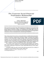 The Corporate Social-Financial Performance Relationship a Typology and Analysis