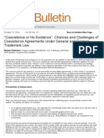"""""""Coexistence or No Existence""""_ Chances and Challenges of Coexistence Agreements Under General and German Trademark Law"""