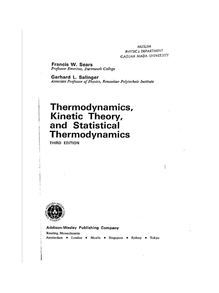 Francois sears gerhard salinger thermodynamics kinetic theory of francois sears gerhard salinger thermodynamics kinetic theory of gasses and statistical mechanicspdf temperature thermodynamics fandeluxe Choice Image