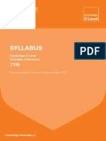 Cambridge O'level Principle of Accounts Syllabus