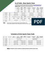 Sports Trials Schedule