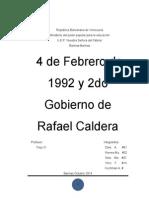 4 de Febrero de 1992 y 2do Gobierno de Caldera