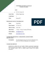 UT Dallas Syllabus for se3354.501.07s taught by Greg Ozbirn (ozbirn)