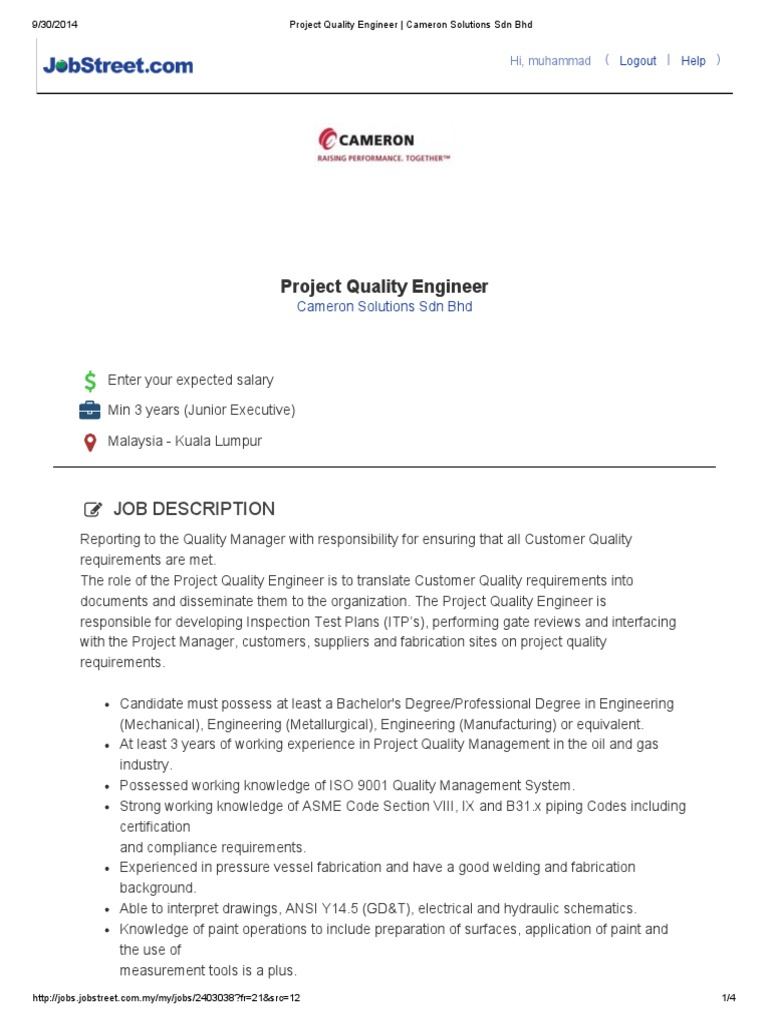 Project Quality Engineer _ Cameron Solutions Sdn Bhd