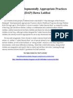 analyze a developmentally appropriate practice dap activity