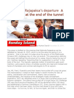 Facilitating Rajapaksa's Departure a Bright Light at the End of the Tunnel
