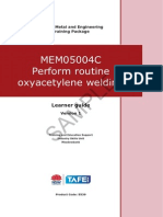 MEM05004C Perform Routine Oxy Acetylene Welding - Learner Guide