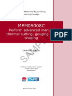 MEM05008C Perform Advanced Manual Thermal Cutting, Gouging and Shaping - Learner Guide