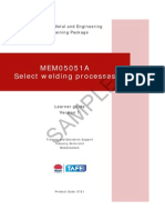 MEM05051A Select Welding Processes - Learner Guide