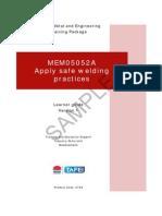 MEM05052A Apply Safe Welding Practices - Learner Guide