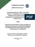 """¨ESTRATEGIA DIDACTICA """"VIDLU""""  APLICANDO SISCONT  Y APRENDIZAJE DE CONTABILIDAD FINANCIERA-I EN CIENCIAS CONTABLES Y FINANCIERAS EN UNIVERSIDAD PRIVADA DE TACNA. SEMESTRE 2013-I¨"""