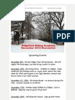 Ridgefield Riding Academy December 2014 Newsletter