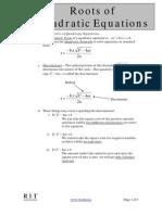 Roots of Quadratic Equations