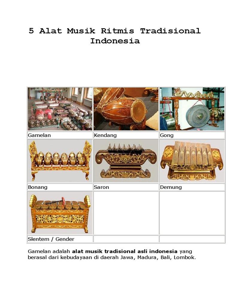 5 Alat Musik Ritmis Tradisional Indonesia