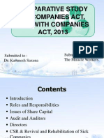 Comparative Studies of Companies Act, 1956