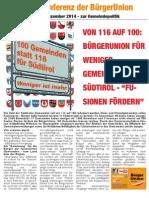 100 Gemeinden statt 116 für Südtirol Faltblatt BürgerUnion